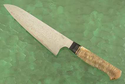 Chef's Knife with Damascus San Mai and Muskox Horn (7-1/4