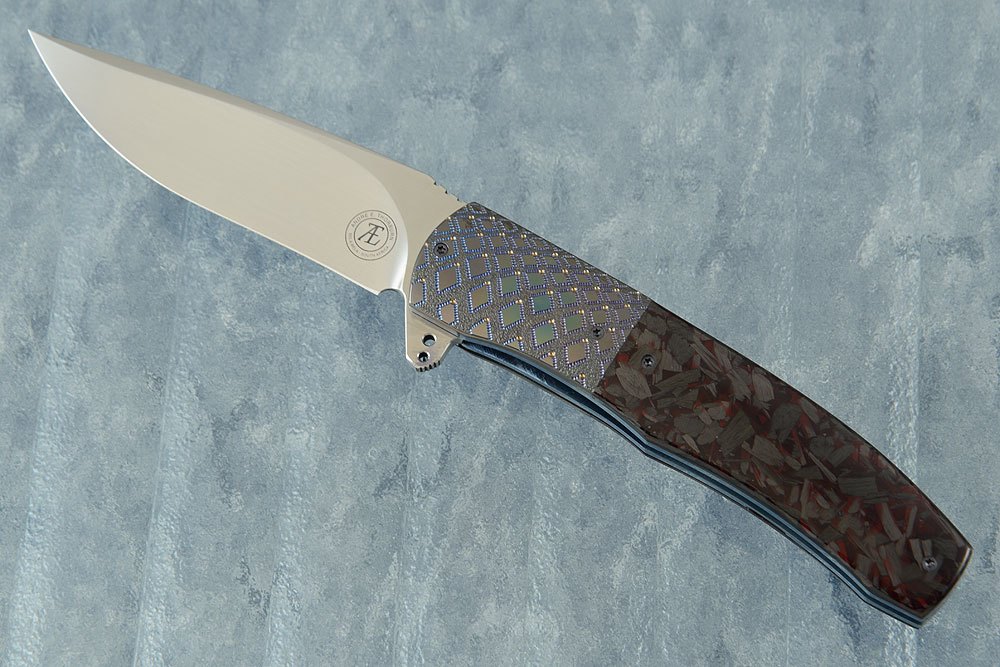 L45 Flipper with Red Shred Carbon Fiber and Zirconium (Ceramic IKBS)