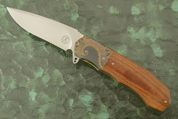 L44 Flipper with Natural Brown Linen Micarta and Zirconium (Ceramic IKBS)