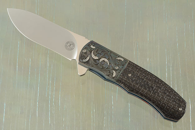 L46 Flipper with Silver Strike Carbon Fiber and Engraved Zirconium with Silver Inlay (Ceramic IKBS)