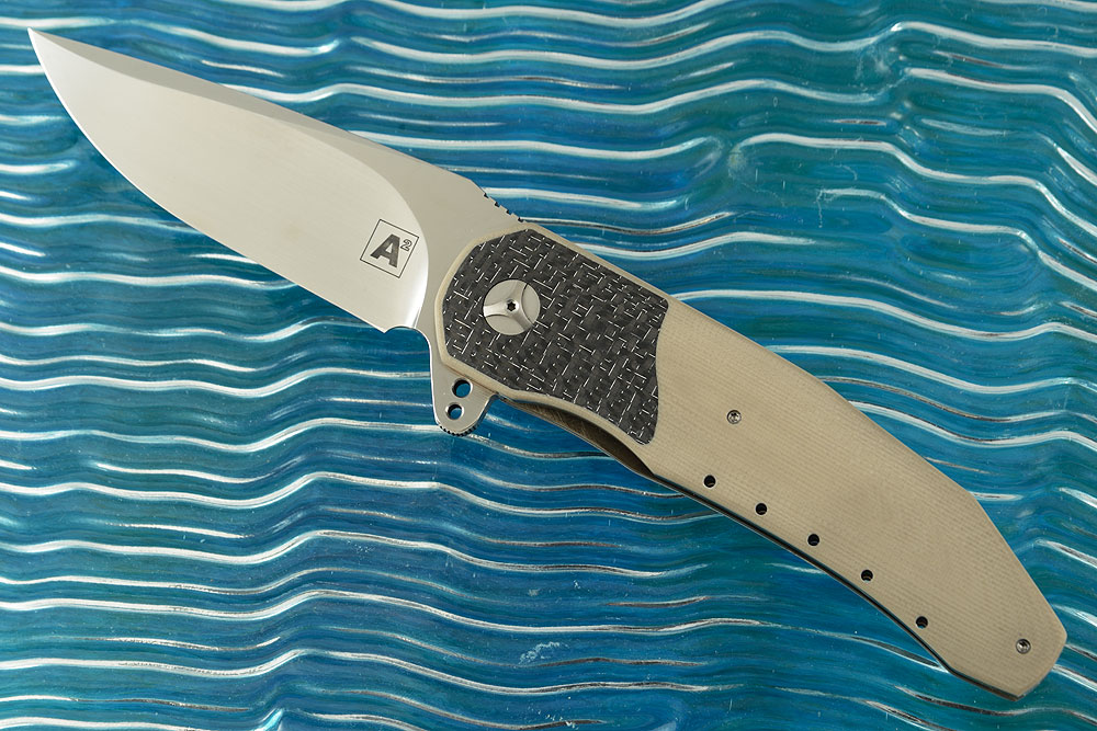 A3 Interframe Flipper with Desert Tan G10 and Silver Strike Carbon Fiber (Double Row IKBS)