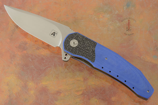 A3 Interframe Flipper with Blue G10 and Silver Strike Carbon Fiber (Double Row IKBS)