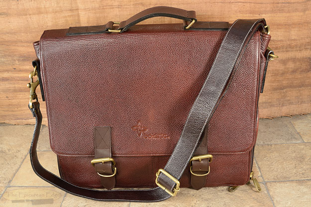 10 Slot Leather Messenger Knife Bag - Brown (LKM100)