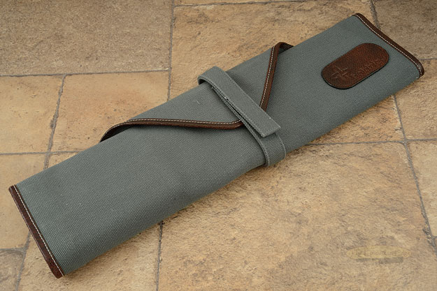 6 Slot Canvas Knife Roll - Abalone with Leather Trim (CW132)