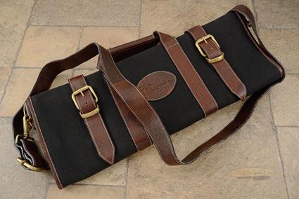 17 Slot Canvas Knife Bag with Leather Trim - Black (CK109)