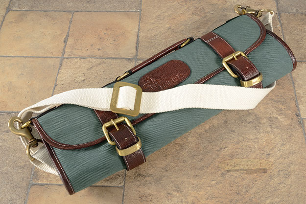 9 Slot Canvas Knife Roll with Shoulder Strap - Abalone (CKR112)