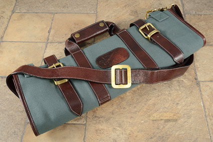 17 Slot Canvas Knife Bag with Leather Trim - Abalone (CK106)