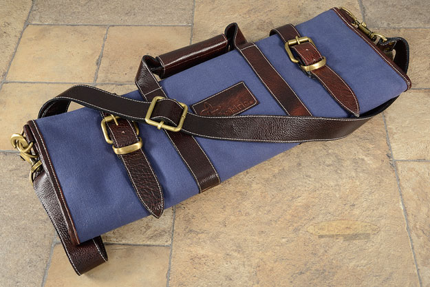 17 Slot Canvas Knife Bag with Leather Trim - Blue (CK106)