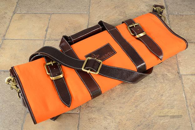 17 Slot Canvas Knife Bag with Leather Trim - Orange (CK110)