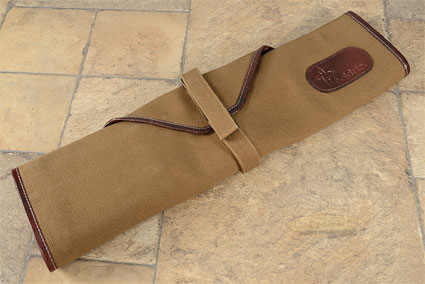 6 Slot Canvas Knife Roll - Khaki with Leather Trim (CW135)