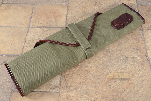 6 Slot Canvas Knife Roll - Green with Leather Trim (CW136)