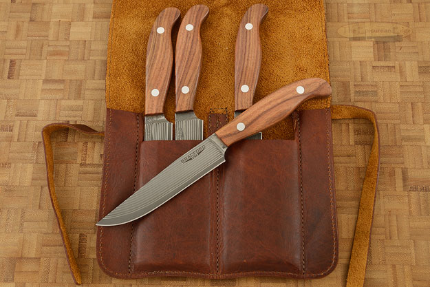 Gatsby Steak Knife with SG2 Stainless Damascus San Mai and Santos Rosewood (Set of 4)