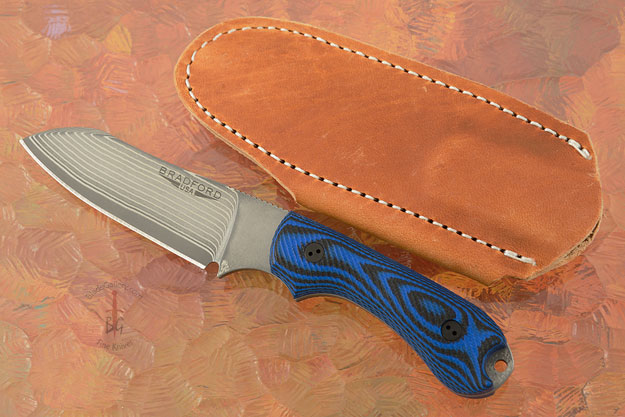 Guardian 3 - 3D Black/Blue G10, SG2 San Mai Damascus, Sheepsfoot