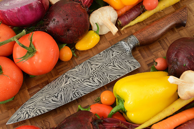 Chef's Knife (8-2/3 in.) with Curly Koa and Integral Mosaic Damascus