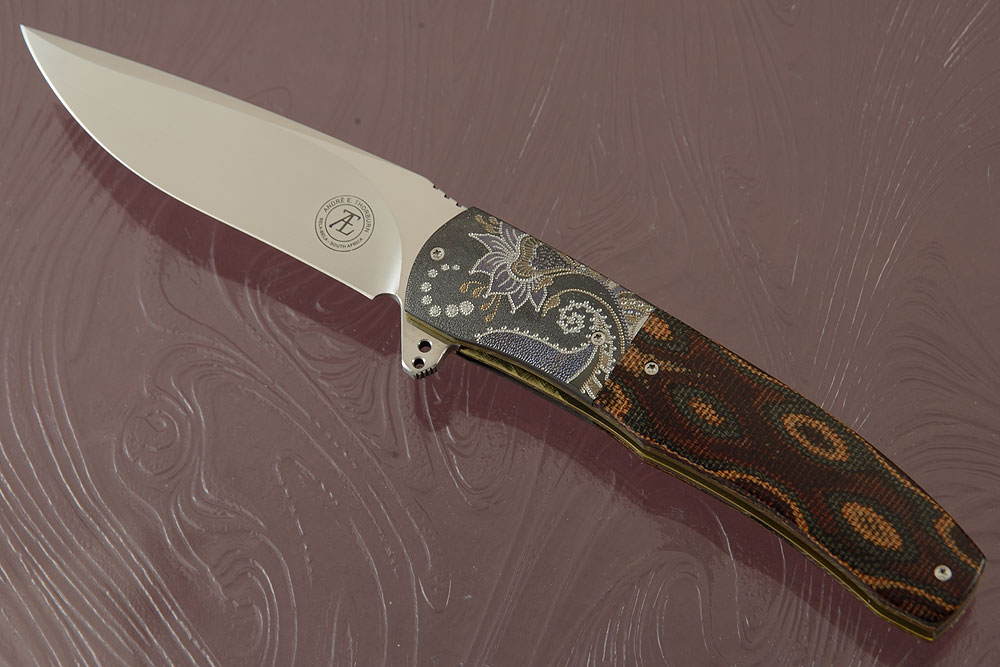 L45 Flipper with Multi-Color Linen Micarta and Zirconium (Ceramic IKBS)