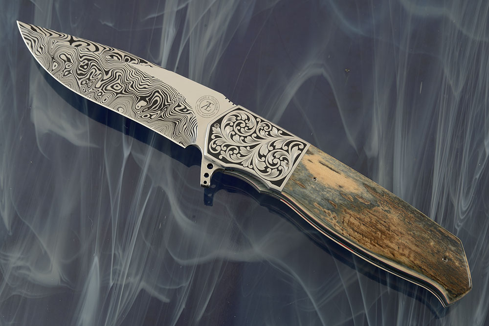L36M Engraved Flipper with Blue/Green Mammoth Ivory and Damascus (IKBS)