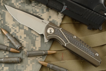 K-4 Flipper - Bronze Ti, Carbon Fiber, and Satin Finished M390