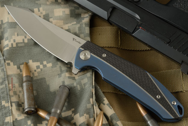 K-1 Flipper with Blue Titanium, Carbon Fiber, and Satin Finished M390