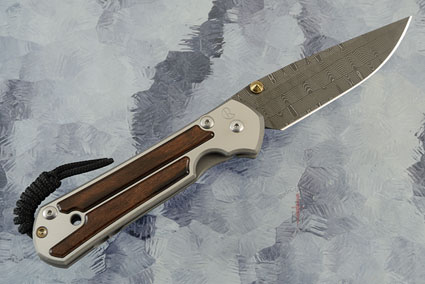 Large Sebenza 21 with Macassar Ebony and Basketweave Damascus - Left Handed