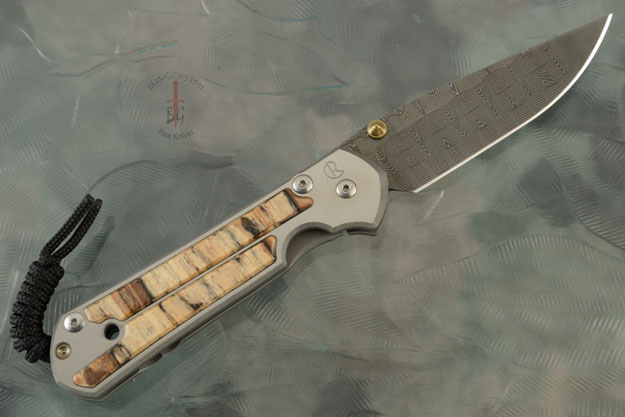 Small Sebenza 21 with Spalted Beech and Basketweave Damascus - Left Handed