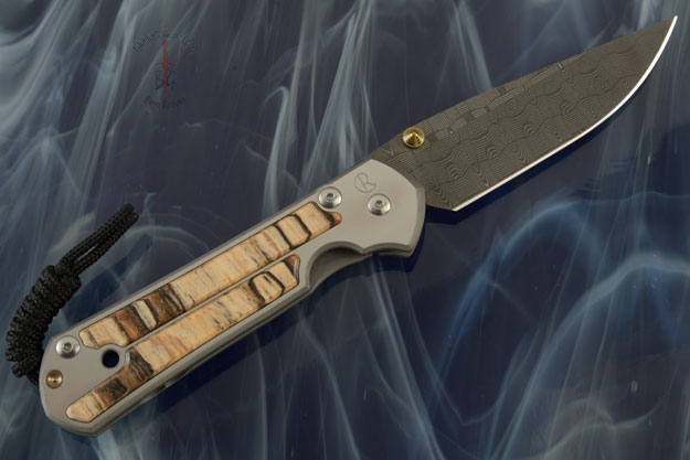 Large Sebenza 21 with Spalted Beech and Basketweave Damascus -- Left Handed