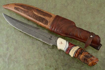 Feather Pattern Swedish Bowie Walrus Ivory, Ironwood, Mammoth Ivory, and Birch