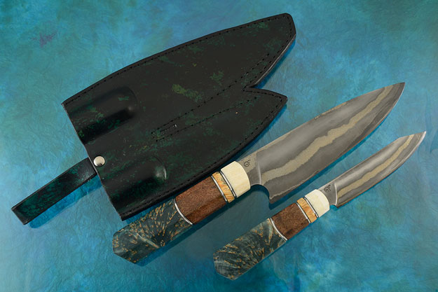 Damascus Chef's Knife (7-1/3 in) and Utility Knife (4-1/2 in) Set