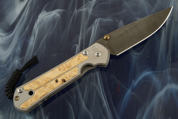 Large Sebenza 21 with Box Elder and Laddered Damascus - Left Handed