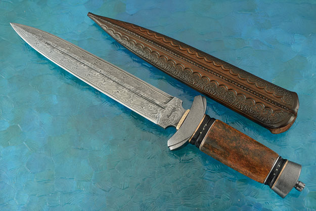 Nordic Dagger with Damascus and Ancient Walrus Bone