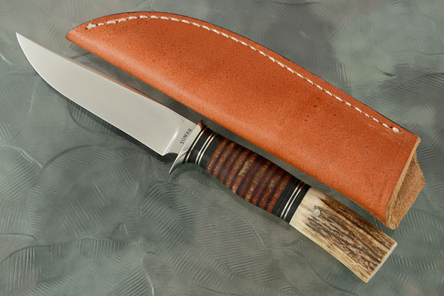 Clip Point Utility/Bird and Trout with Stag and Stacked Leather