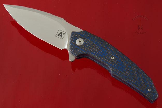 A6 Mini Flipper with Blue Lightning Strike Carbon Fiber (Ceramic IKBS)