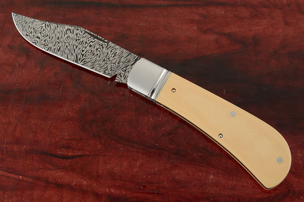 Lanny's Clip with Damascus and Ivory Paper Micarta