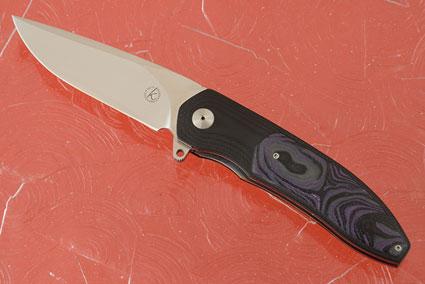 K4 Interframe Flipper with Black G10 Inlaid with Purple/Grey/Black Shred G10 (IKBS)