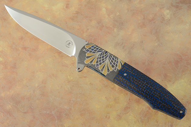 L20 Flipper with Blue Lightning Strike Carbon Fiber and Zirconium (Ceramic IKBS)