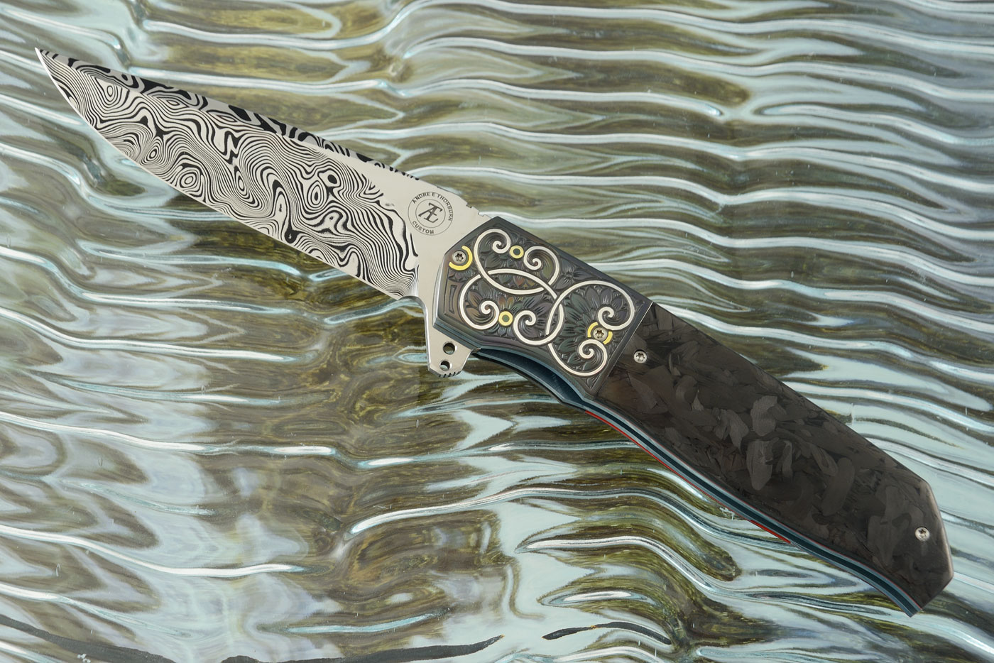 L36S Flipper with Marbled Carbon Fiber, Zirconium, and Damasteel - Engraved with Silver and Gold Inlay (Ceramic IKBS)