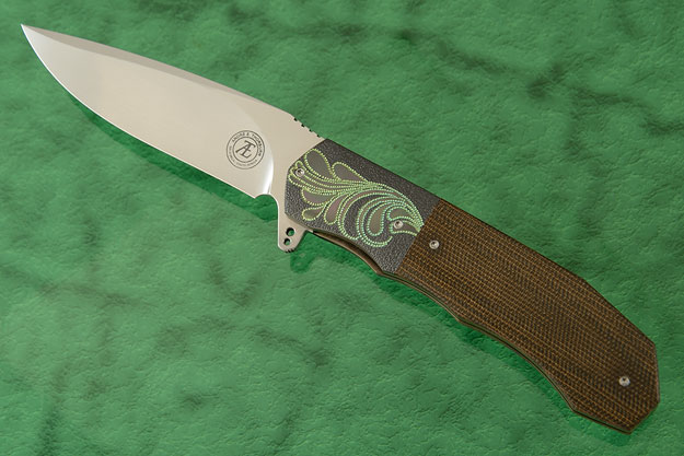 L44 Compact Flipper with Olive Green Canvas Micarta and Zirconium (Ceramic IKBS)