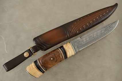 Nordic Hunter with Buffalo Horn, Crosscut Oak and Mammoth Ivory