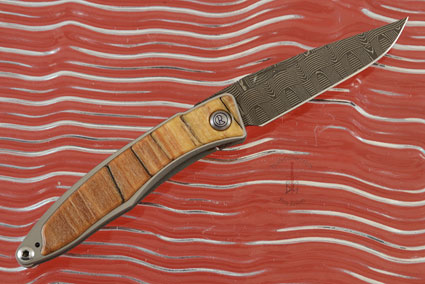 Mnandi with Spalted Beech and Basketweave Damascus - Left Handed
