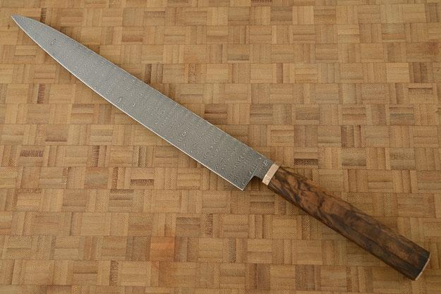 Damascus Sujihiki (Slicer) with Walnut (10-1/2)