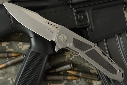 K-3 Flipper - Ti, Carbon Fiber, and Satin Finished CTS-204P Drop Point
