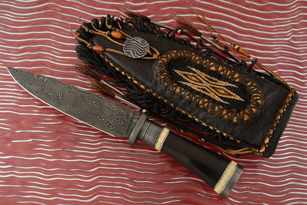 Cowboy Bowie with Damascus and Buffalo Horn