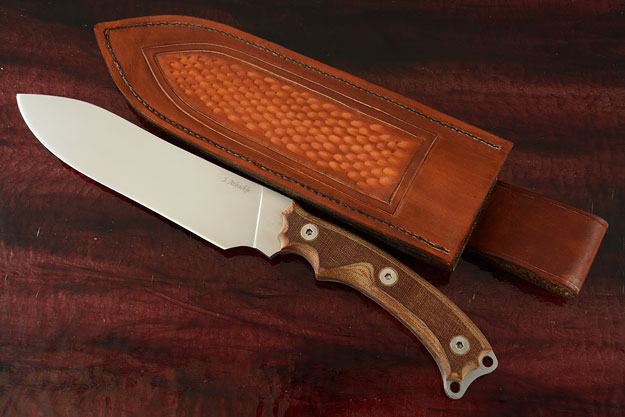 Survival/Camp Knife with Natural Canvas Micarta