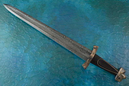 Viking Short Sword with African Blackwood and Damascus