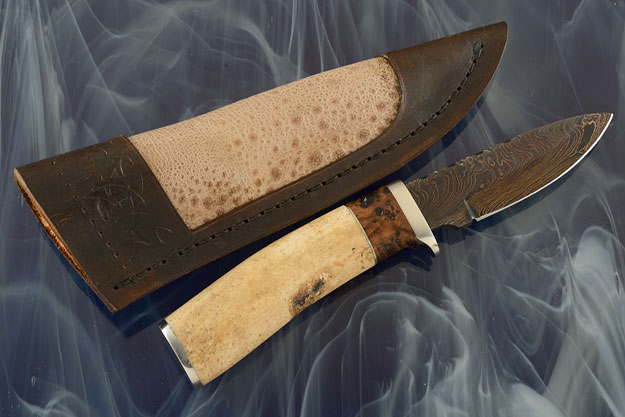Damascus Hunter with Walrus Jaw Bone and Black Ash Burl