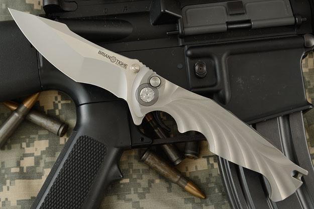 Integral Titanium Tighe Breaker Button Lock Flipper - Harpoon Tip