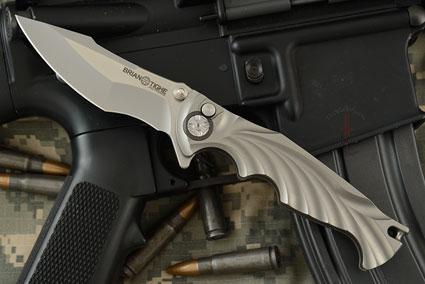 Integral Titanium Tighe Breaker, Small Button Lock Flipper - Harpoon Tip