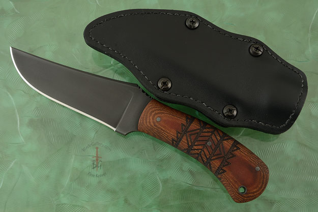 Belt Knife with Tan Micarta, Washed Tribal Markings and Caswell Finish