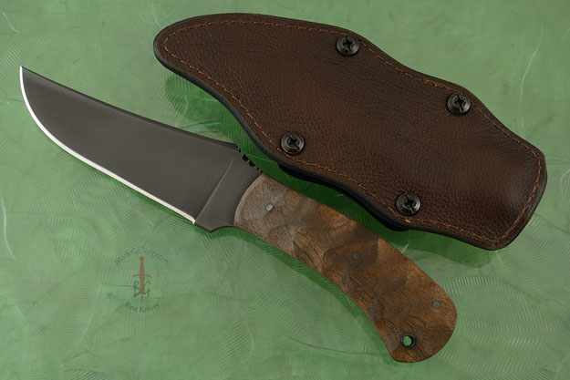 Belt Knife with Sculpted Walnut and Caswell Finish