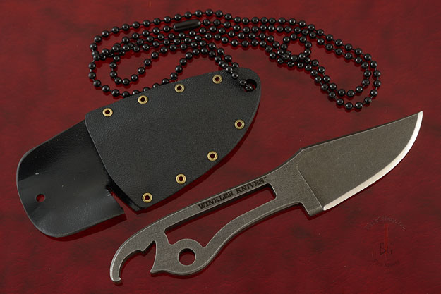 Bottle Opener Neck Knife with Tumbled Black Oxide Finish