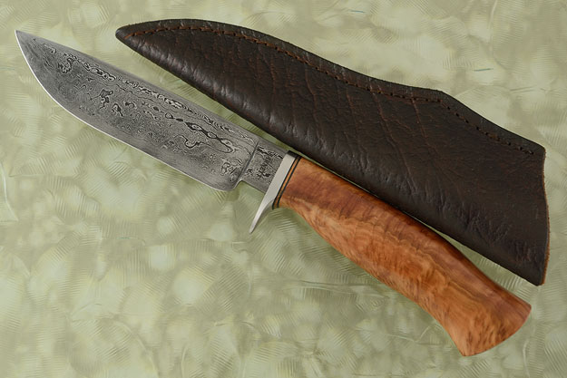 Damascus Drop Point Hunter with Budgeroo